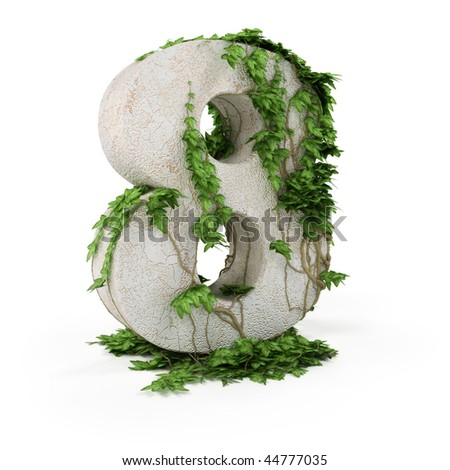 Digit eight threads covered with ivy isolated on white backgro - stock photo
