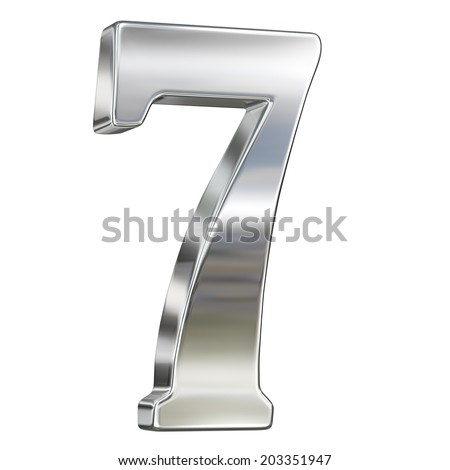 Digit figure seven 7 from chrome solid alphabet isolated on white - stock photo