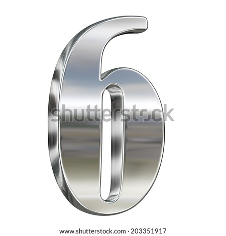 Digit figure six 6 from chrome solid alphabet isolated on white - stock photo
