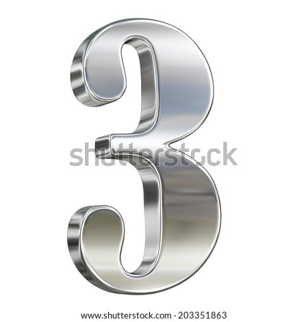 Digit figure three 3 from chrome solid alphabet isolated on white - stock photo