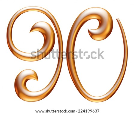 Digit number 9 & 0 in gold metal on white  - stock photo