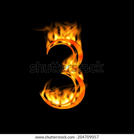 Digit number 3 three. Fire alphabet letter isolated on black. Look for more symbols in my gallery. - stock photo