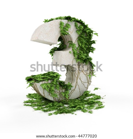 Digit three threads covered with ivy isolated on white background. - stock photo