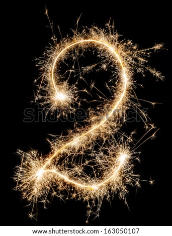 Digit two made of sparklers  - stock photo
