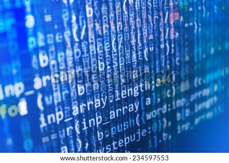 Digital abstract bits data stream, cyber pattern digital background. Blue color.  (MORE SIMILAR IN MY GALLERY) - stock photo