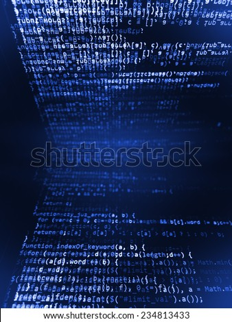 Digital abstract bits data stream, cyber pattern digital background. Blue color.  Vignette light and dark shadow dramatic effect.  (MORE SIMILAR IN MY GALLERY) - stock photo