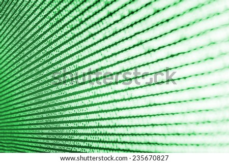 Digital abstract bits data stream, cyber pattern digital background. Green color.   Vignette light and dark shadow dramatic effect. Gibberish, dummy, lorem ipsum text. Letters, chars, and digits.  - stock photo