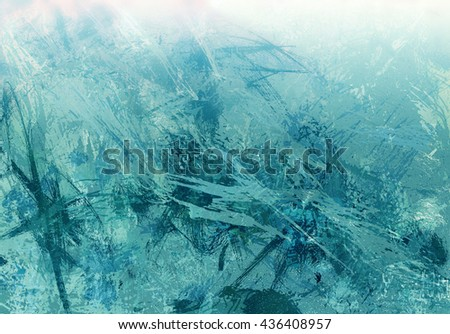 digital abstract expressionism style painting, abstract background design in blue green and white paint spatters and drips on canvas texture - stock photo