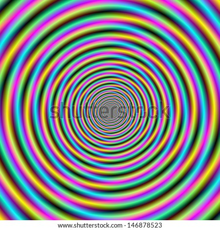 Digital abstract fractal image with a candy stripe vortex design in blue, yellow, green and pink.  - stock photo