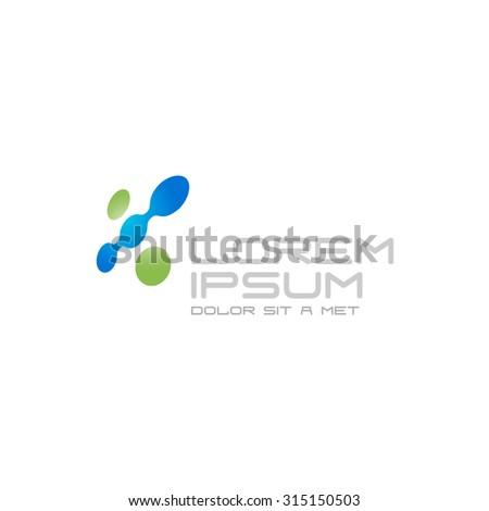 Digital abstract tech color dots logo - stock photo