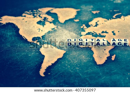DIGITAL AGE on world map, vintage - stock photo