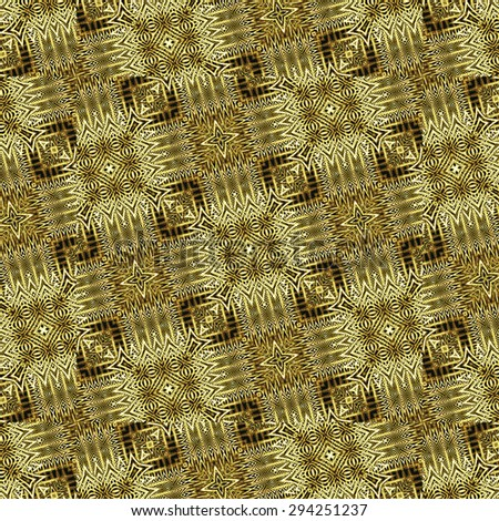 Digital art collage technique intricate geometric abstract pattern with grunge textured and black and brown tones - stock photo