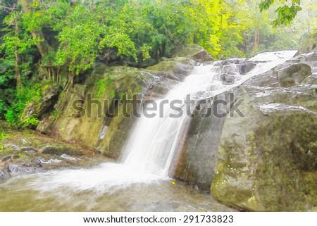 digital artwork of pa-la-u waterfall in watercolor style - stock photo