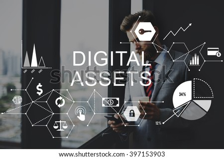 Digital Assets Business Management System Concept - stock photo