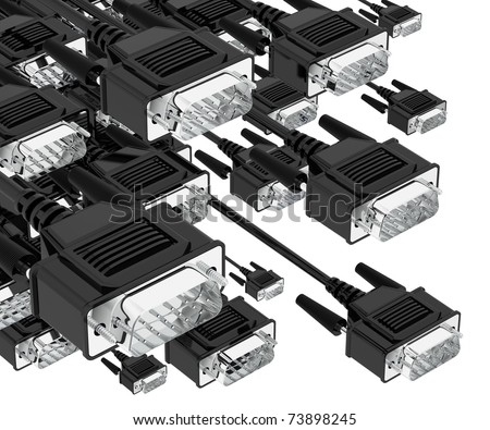 Digital attack. Tech pc VGA input cable connectors isolated on white background. 3d - stock photo