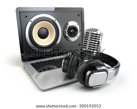 Digital audio or music software concept. Laptop, microphone and loudspeakers. 3d - stock photo
