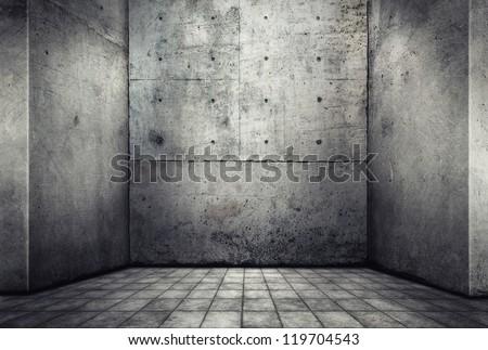 Digital background for studio photographers. Empty concrete room. - stock photo