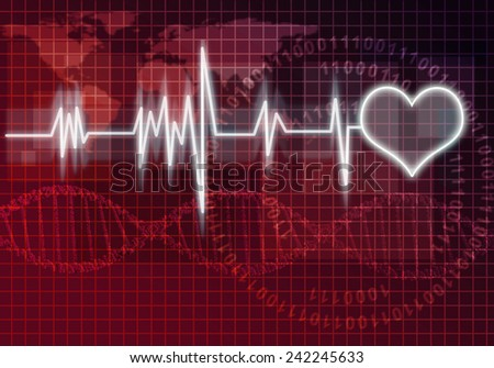 Digital background image with heart on color backdrop - stock photo