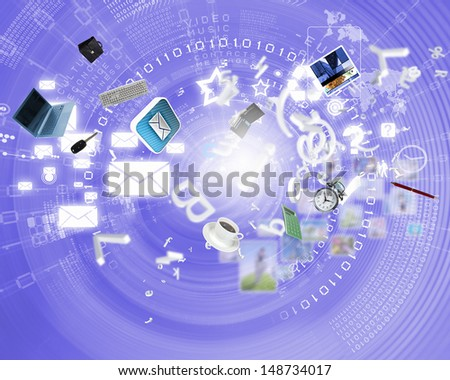 Digital background image with symbols and icons - stock photo