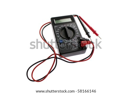 Digital black multimeter on a white background - stock photo