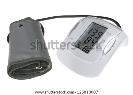 Digital blood pressure mesuring device isolated on white - stock photo