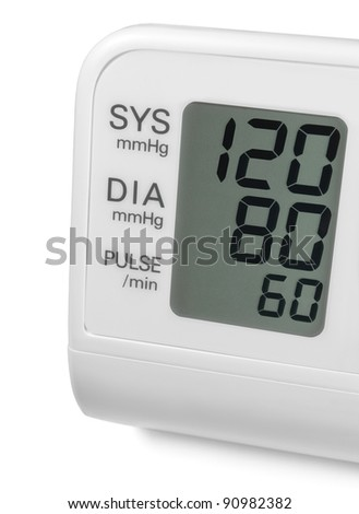 Digital blood pressure wrist tonometer monitor display screen showing ideal optimum 120 80 60 systolic diastolic pulse, isolated macro closeup - stock photo