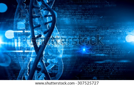 Digital blue image of DNA molecule and technology concepts - stock photo