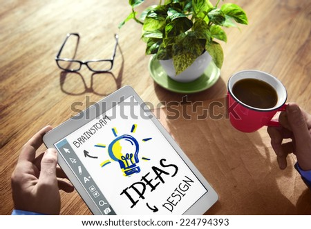 Digital Brainstorming Design Ideas Concept - stock photo