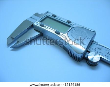 Digital Caliper with blue light - stock photo