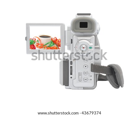 Digital camcorder isolated on white background. Isolated object. - stock photo