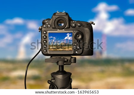 Digital camera on day view. Beautiful colors. - stock photo