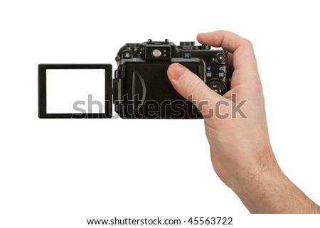Digital Camera photo in a hand isolated on withe background - stock photo