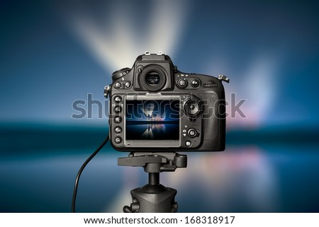 Digital camera the night view. Beautiful colors. - stock photo