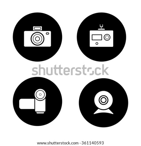 Digital cameras black icons set. Slr vintage photocamera and modern action camera circle symbols. Video and webcam white silhouettes illustrations. Optical multimedia equipment. Raster - stock photo