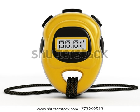 Digital chronometer isolated on white background - stock photo