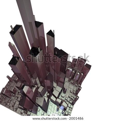 Digital city (CG) - stock photo