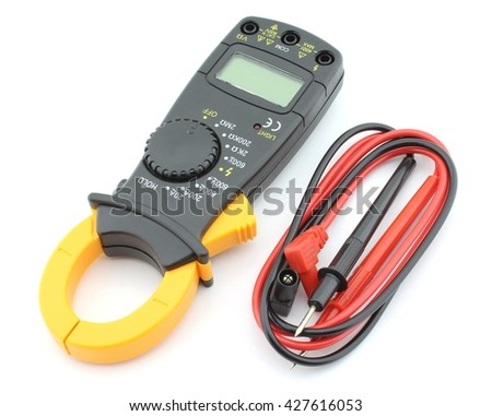 Digital clamp meter with plobes, isolated on white - stock photo