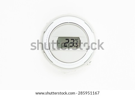 digital climate thermostat, white background - stock photo