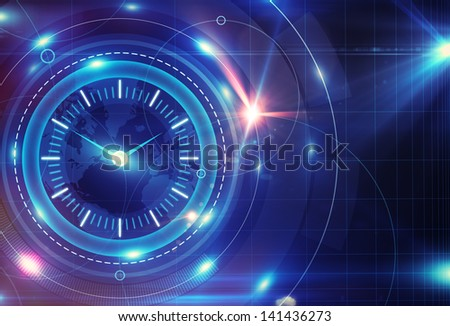 digital clock interface - stock photo