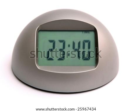 Digital clock isolated on white background. - stock photo
