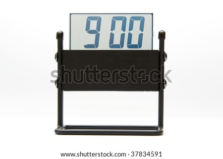 Digital clock on white background , 9:00 - stock photo