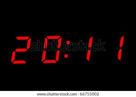 digital clock ,showing new year  2011 - stock photo