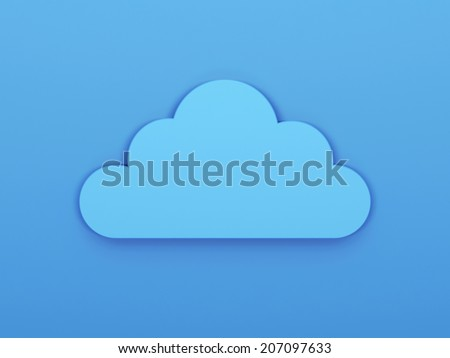 Digital cloud icon. 3d render illustration - stock photo