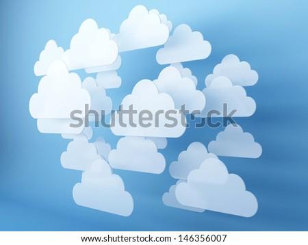 Digital clouds. 3d render illustration - stock photo