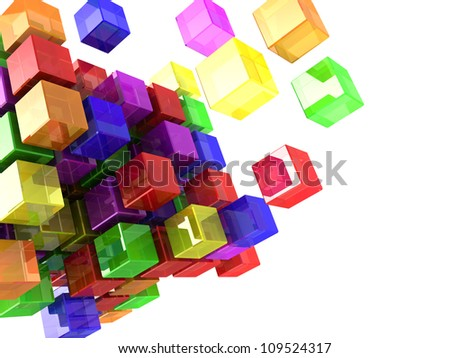 Digital colorful cubes with lights  isolated on a white background - stock photo