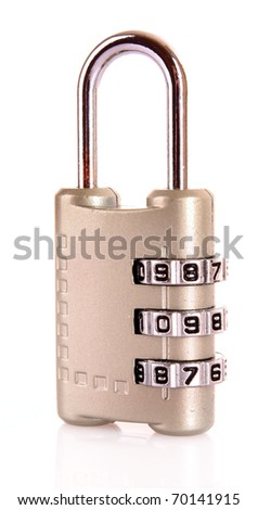 Digital combination lock isolated on white - stock photo