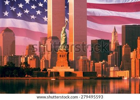 Digital composite: New York skyline, American flag, World Trade Center, Statue of Liberty - stock photo