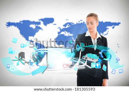 Digital composite of blonde businesswoman touching laptop with app icons - stock photo