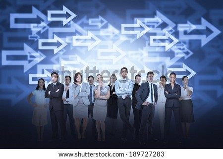 Digital composite of business team against arrow background - stock photo