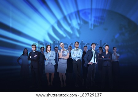 Digital composite of business team against blue earth background - stock photo